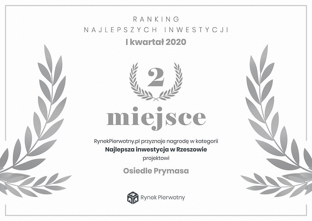 dyplom za zajęcie II miejsca w rankingu inwestycji